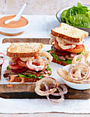 Steak Sandwiches with Onion Rings