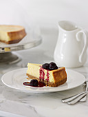 Baked Cheesecake with Liqueur Cherries
