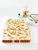 Moist Apple and Walnut Slice with Maple Syrup Icing