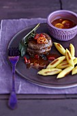 Fillet of fawn with rosehip and kumquat sauce and finger-shaped dumplings