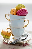 Macarons in teacups