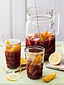 Red wine sangria with orange, lemon and apple (Spain)