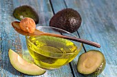 Avocado oil in glass bowls