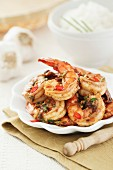 Grilled garlic prawns with chilli