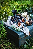 A picnic in a garden with red grapes, figs, blue cheese and nuts