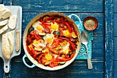 Shakshuka with chorizo, pepper and courgette
