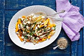 Baked pumpkin, grilled courgette and blue cheese salad