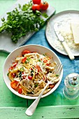 Spaghetti mit Austernpilzen, Champignons und Kirschtomaten