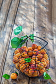 Apricots in a wire basket