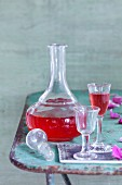 Homemade rose liqueur