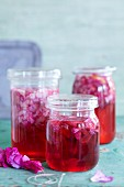 Homemade rose petal syrup