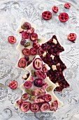 Christmas tree of chocolate with dried cranberries