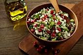 Tabbouleh with cauliflower rice and pomegranate seeds