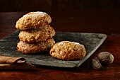 Carrot and spice cookies with icing sugar