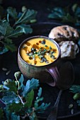 Vegan pumpkin soup with a wild mushroom muffin