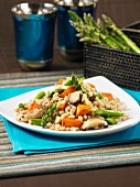 Barley with sweet potatoes, asparagus and mushrooms