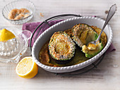 Baked avocado with grated coconut