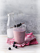 A blueberry and apple smoothie with coconut milk