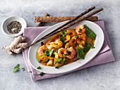 Thai prawn and coconut curry with mange tout
