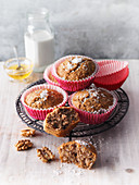 Carrot and coconut muffins walnuts