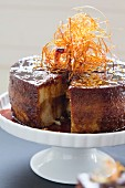 Torta quesillo (Latin American cake) topped with caramel threads
