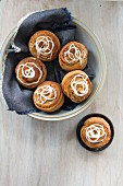 Apple and cinnamon buns with icing
