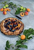 An apricot and blueberry galette with flaked almonds