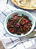 Black lentil salad with cherries