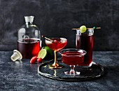 Three cranberry juice cocktails