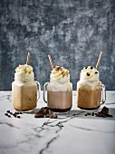 Iced coffees with cream