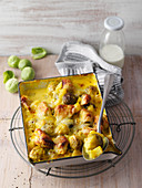 Potato and brussels sprout bake with turmeric and chicken