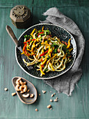 Fried udon noodles with kale and turmeric