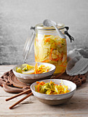 Kimchi with turmeric (Korean fermented cabbage)