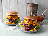 Veggie burgers with cauliflower steaks and coleslaw