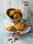 Vegan carrot cookies with raisins and turmeric