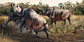 Brontotherium prehistoric mammals, illustration
