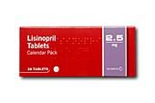 Lisinopril drug packaging