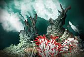 Black smoker hydrothermal vent, illustration