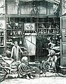 19th Century hookah smokers in Cairo, Egypt, illustration