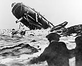 Torpedoed ship in World War I