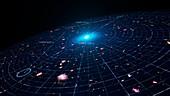 Universe's dark energy expansion, illustration