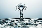 Water drop impact, high-speed photograph