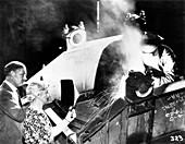 Arc welding pioneers observing welding, 1938