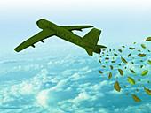 Aeroplane running on green fuel, illustration