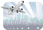 Airplane taking off, illustration