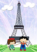 Boy and a girl in front of Eiffel Tower, illustration