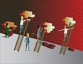 Building a brick wall, illustration