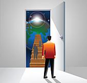 Business executives climbing a staircase, illustration