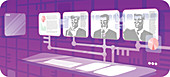 Business executives in a video conference, illustration