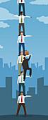 Businessman climbing human ladder, illustration